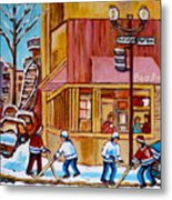 City Of Montreal St. Urbain And Mont Royal Beautys With Hockey Metal Print