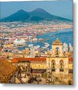 City Of Naples With Mt. Vesuvius Metal Print