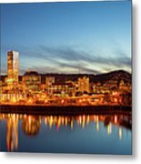 City Of Portland Skyline Blue Hour Panorama Metal Print