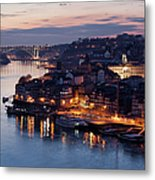 City Of Porto In Portugal At Dusk Metal Print