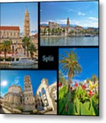 City Of Split Nature And Architecture Collage Metal Print