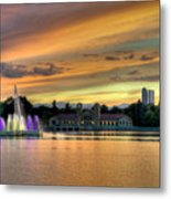 City Park Fountain At Sunset Metal Print by Stephen  Johnson