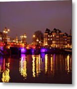 City Scenic From Amsterdam With The Blue Bridge In The Netherlands Metal Print