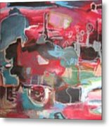Citysacpe At Twilight  Original Abstract Colorful Landscape Painting For Sale Red Blue  Metal Print