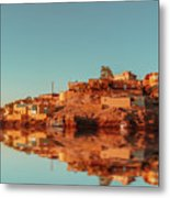 Cityscape For The Beautiful Nubian City Aswan In Egypt At The Golden Hour Of The Sunset Time. Metal Print