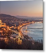 Cityscape Of Budapest, Hungary At Night And Day Metal Print