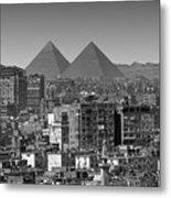 Cityscape Of Cairo, Pyramids, Egypt Metal Print