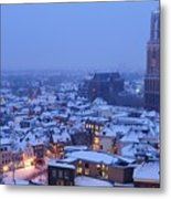 Cityscape Of Utrecht With The Dom Tower  In The Snow 13 Metal Print