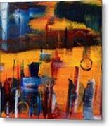 Cityscape On Orange Metal Print