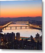 Cityscape With River Before Sunrise Metal Print