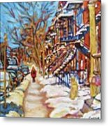 Cityscene In Winter Metal Print