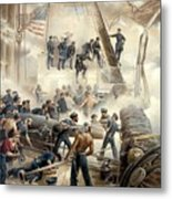 Civil War Naval Battle Metal Print