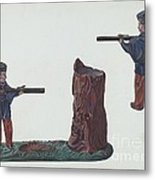 Civil War Soldier & Tree Trunk Bank Metal Print