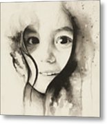 Claire Black And White Metal Print