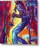 Clarenet On The French Quarter Streets Metal Print