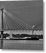 Clark Bridge And Barges In Black And White  Metal Print