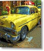 Classic 56 Chevy Car Yellow  Metal Print