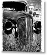 Classic Car Body In Grassy Field Metal Print