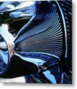 Classic Car Chrome Abstract Reflected Grill Metal Print