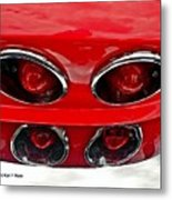 Classic Car Tail Lights Reflection Metal Print