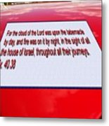 Classic Car With Text Metal Print