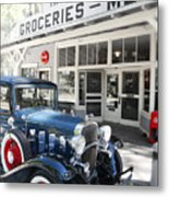 Classic Chevrolet Automobile Parked Outside The Store Metal Print