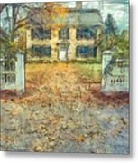 Classic Colonial Home In Autumn Pencil Metal Print