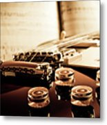 Classic Guitar Still Life With Notes Metal Print
