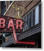 Classic Neon Sign For A Bar Livingston Montana Metal Print