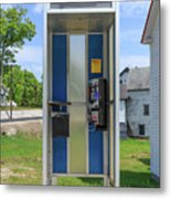 Classic Pay Phone Booth Metal Print