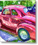 Classic Red Vintage Car Metal Print