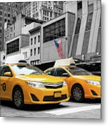 Classic Street View Of Yellow Cabs In New York City Metal Print