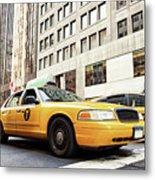 Classic Street View With Yellow Cabs In New York City Metal Print