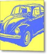 Classic Vw Beetle Tee Blue Ink Metal Print