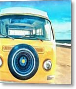 Classic Vw Camper On The Beach Metal Print