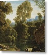 Classical Landscape With Figures By A Lake Metal Print