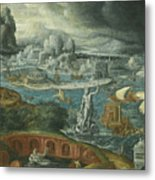 Classical Landscape With Ships Running Before A Storm Towards A Classical Harbour Probably Corinth Metal Print