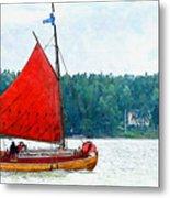Classical Wooden Boat Tacksamheten Metal Print