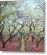 Claude Monet Orchard In Bloom Metal Print