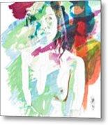 Claudia Nude Fine Art Painting Print In Sensual Sexy Color 4887. Metal Print