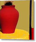 Clay Pot In Red Metal Print