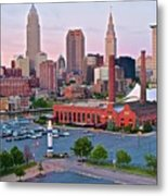 Cle Sunset View From The Shoreway Metal Print