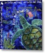 Clean Oceans Sea Turtle Art Metal Print