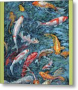 Clear Creek Koi With Painted On Mat Metal Print