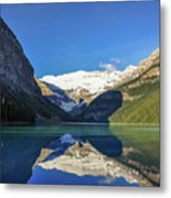 Clear Reflections In The Water At Lake Louise, Canada. Metal Print