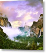 Clearing Storm Over Yosemite Valley Metal Print by Edward Mendes