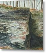 Cleft.  Rock Shelf Fissure And Autumn Leaves Metal Print