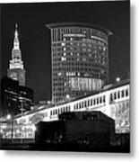 Cleveland Black And White Panoramic Metal Print