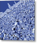 Cleveland Map Blue Metal Print