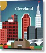 Cleveland Ohio Horizontal Skyline Metal Print